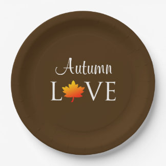 Autumn Love Rustic Fall Wedding Orange Leaf Paper Plate