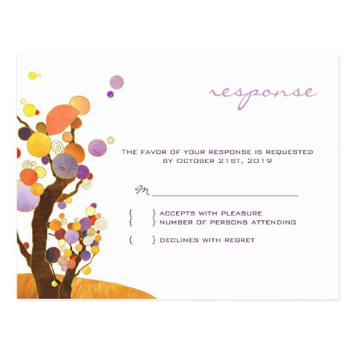 Autumn Love Trees Purple Wedding Reply (4.25x5.6) Postcard