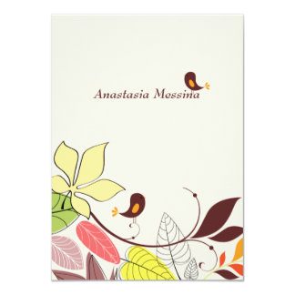 Autumn Lovebirds Personalized Stationery/Notecard Card