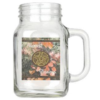 Autumn Mabon Blessings Pentacle Mason Jar