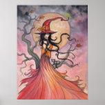 Autumn Magic Halloween Witch and Cat Art Print