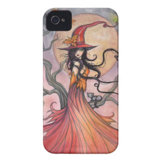 Autumn Magic Witch and Cat Fantasy Art iPhone 4 Cover