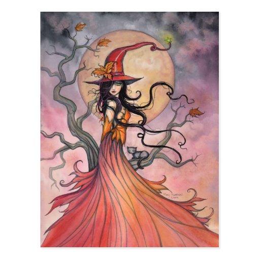 Autumn Magic Witch and Cat Fantasy Halloween Art Postcard