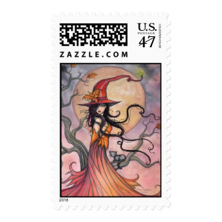 Autumn Magica Fantasy Halloween Witch and Cat Postage