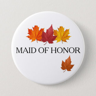 Autumn Maid of Honor Button Pin - Fall Leaves
