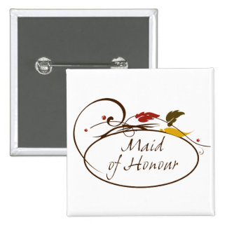 Autumn Maid of Honour Pinback Buttons