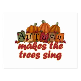autumn makes trees sing postcards