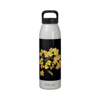 Autumn maple branch with yellow leaves water bottles