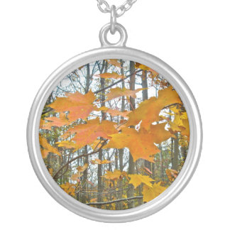 Autumn Maple Foliage Silver Plated Necklace