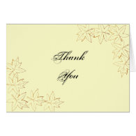 Autumn Maple Leaf Edge Thank You Note Card