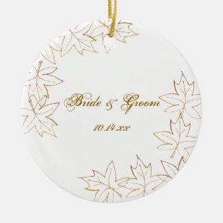 Autumn Maple Leaf Edge Wedding Ceramic Ornament