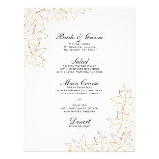 Autumn Maple Leaf Edge Wedding Menu Custom Flyer