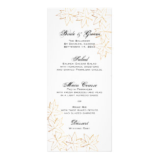 Autumn Maple Leaf Edge Wedding Menu Rack Card Template