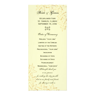 Autumn Maple Leaf Edge Wedding Program Rack Cards