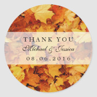 Autumn Maple Leaf Fall Wedding Favor Stickers