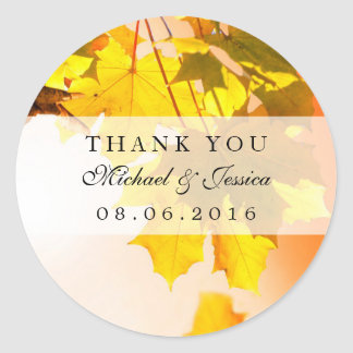 Autumn Maple Leaf Fall Wedding Thank You Sticker