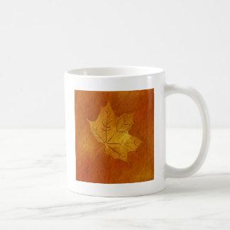 Autumn Maple Leaf in Gold Coffee Mug