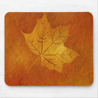 Autumn Maple Leaf in Gold Mouse Pad