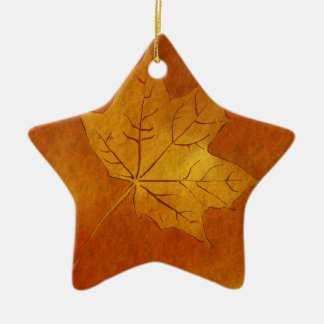 Autumn Maple Leaf in Gold Double-Sided Star Ceramic Christmas Ornament