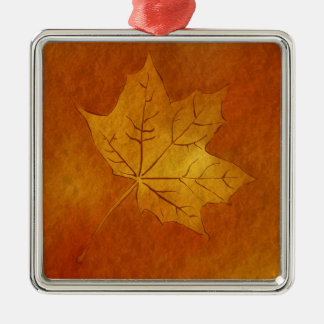 Autumn Maple Leaf in Gold Square Metal Christmas Ornament