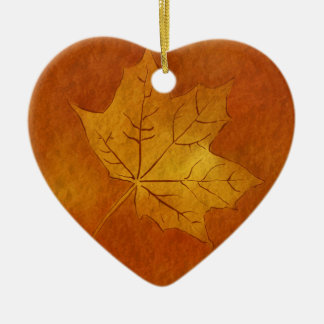Autumn Maple Leaf in Gold Double-Sided Heart Ceramic Christmas Ornament