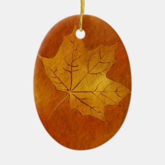 Autumn Maple Leaf in Gold Double-Sided Oval Ceramic Christmas Ornament