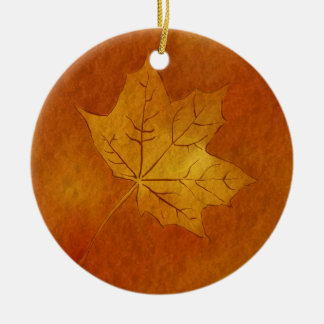 Autumn Maple Leaf in Gold Double-Sided Ceramic Round Christmas Ornament