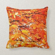Autumn Maple Leaf Pattern Orange Throw Pillow