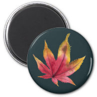 Autumn Maple Leaf Watercolor Painting Magnet