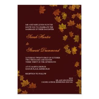 Autumn Maple Leaf Wedding Invitation -Brown