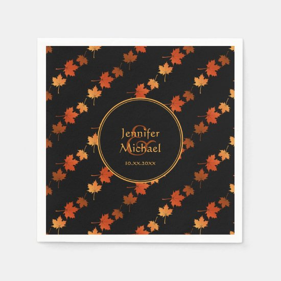 Autumn maple leaves fall stripes pattern napkin