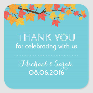 Autumn Maple Leaves Fall Thank You Sticker