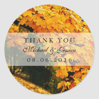 Autumn Maple Leaves Fall Wedding Thank You Sticker