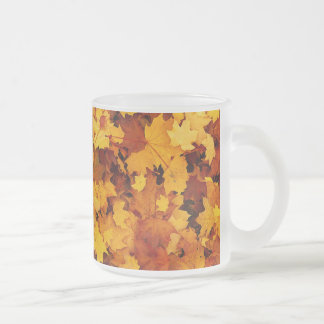 Autumn Maple Leaves Frosted Glass Coffee Mug