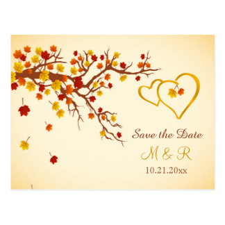 Autumn maple leaves, hearts Save the Date Postcard