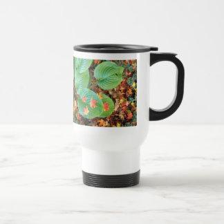 Autumn Maple Leaves on Hosta Travel Mug