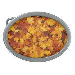 Autumn Maple Leaves Oval Belt Buckle