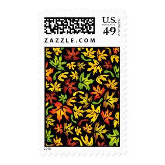 autumn maple leaves stamp