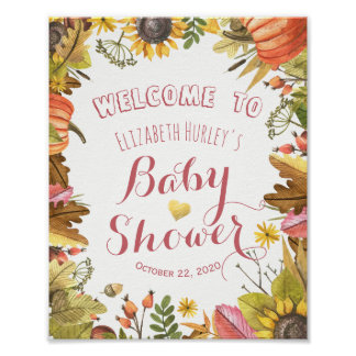 Autumn Maple Leaves & Pumpkin Baby Shower Welcome Poster