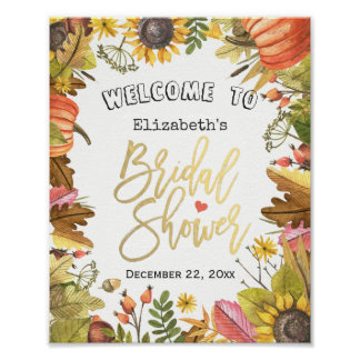Autumn Maple Leaves Pumpkin Bridal Shower Welcome Poster