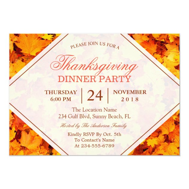 Autumn Maple Leaves Thanksgiving Dinner Party Card