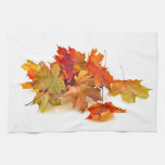 Autumn maple leaves towels