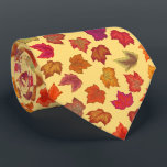 """Autumn Maple Leaves U-Pick Background Color Neck Tie<br><div class=""""desc"""">Fall colored maple leaves create an attractive fall fashion pattern. Click the Customize button to change the current background color to the color of your choice.</div>"""