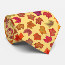 Autumn Maple Leaves U-Pick Background Color Neck Tie