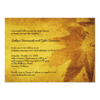 Autumn Maple Leaves Vintage Retro Fall Wedding 5x7 Paper Invitation Card