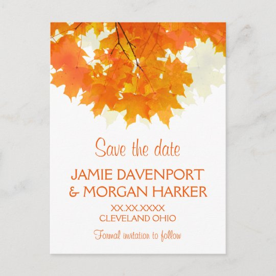 autumn maple leaves wedding save the date announcement postcard