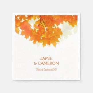 Autumn Maple Leaves Wedding Wedding Napkin