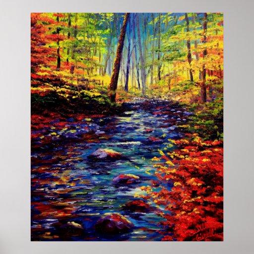 Autumn Maple Stream Poster