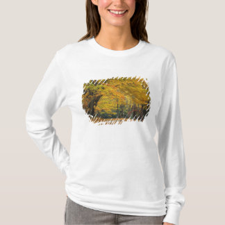 Autumn maple tree overhanging country lane, T-Shirt