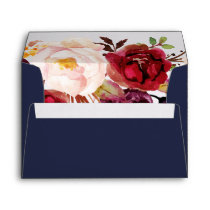 Autumn Marsala Floral Addressed Wedding Envelope